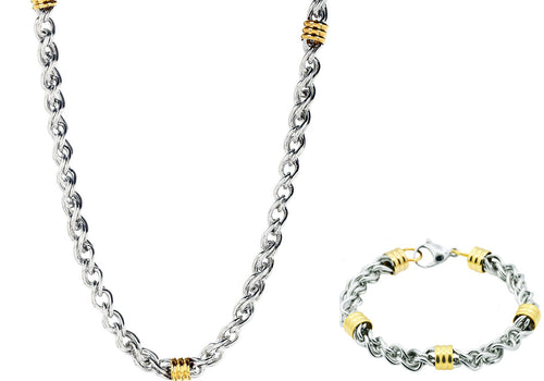 Mens Two Tone Stainless Steel Link Chain Set - Blackjack Jewelry