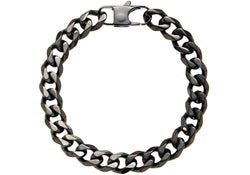 Mens Black Plated Stainless Steel Cuban Link Chain Bracelet