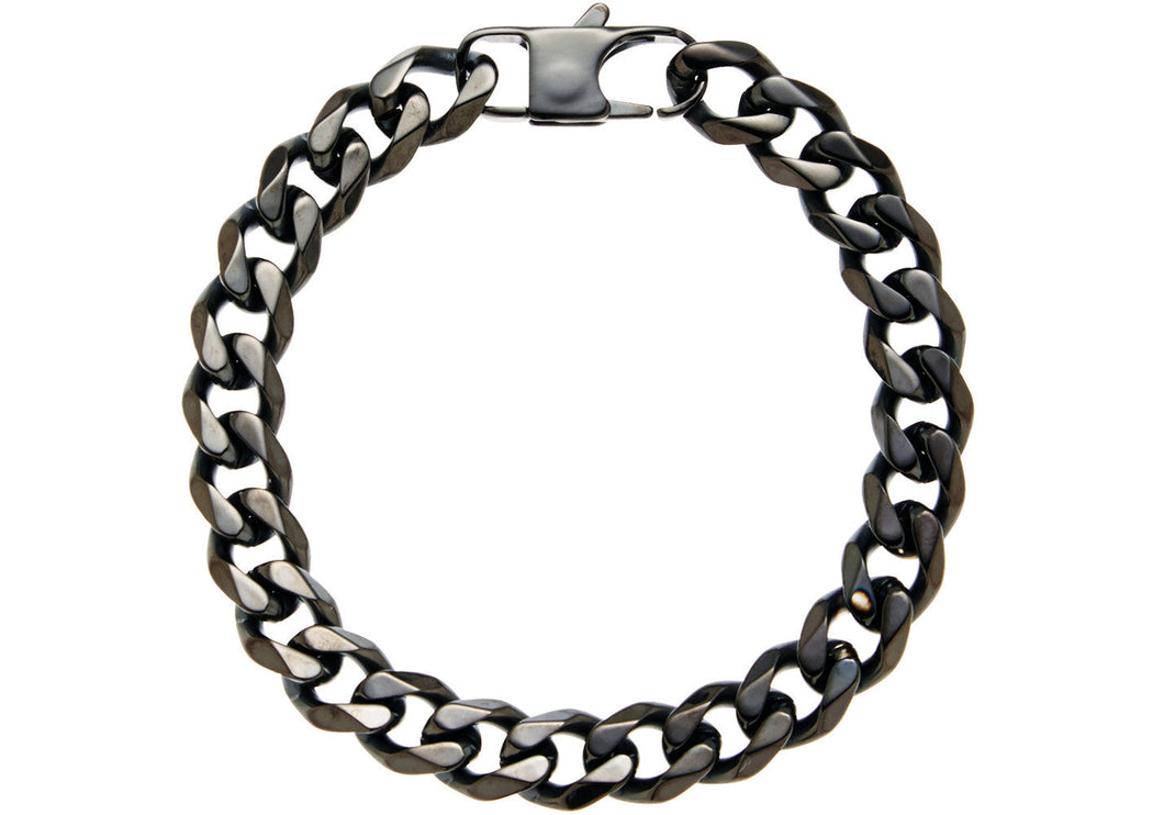 Mens Black Plated Stainless Steel Curb Link Chain Bracelet - Blackjack Jewelry