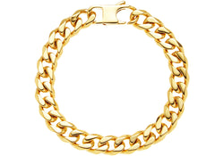 Mens Gold Plated Stainless Steel Cuban Link Chain Bracelet