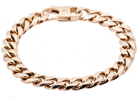 Mens Rose Plated Stainless Steel Cuban Link Chain Bracelet