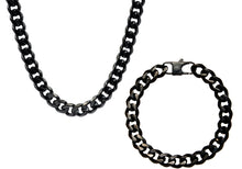 Load image into Gallery viewer, Mens 10mm Black Stainless Steel Curb Link Chain Set - Blackjack Jewelry