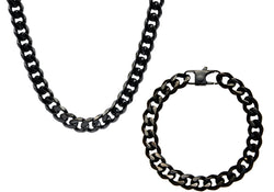 Mens 10mm Black Plated Stainless Steel Curb Link Chain Set - Blackjack Jewelry
