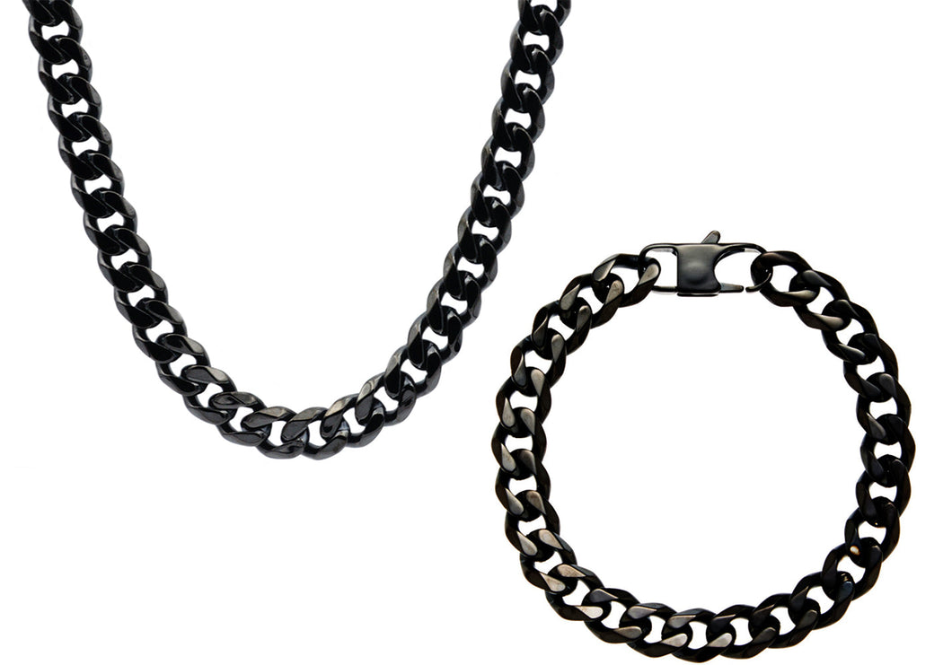 Mens 10mm Black Stainless Steel Curb Link Chain Set - Blackjack Jewelry