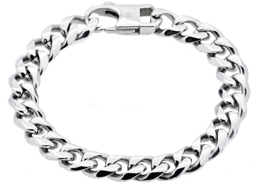 Mens Stainless Steel Curb Link Chain Bracelet - Blackjack Jewelry