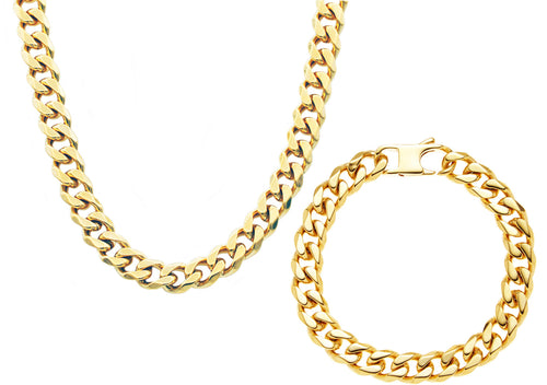 Mens 10mm Gold Stainless Steel Curb Link Chain Set - Blackjack Jewelry