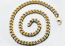 Load image into Gallery viewer, Mens 10mm Gold Plated Stainless Steel Curb Link Chain Necklace - Blackjack Jewelry