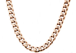 Mens Rose Plated Stainless Steel Cuban Link Chain Necklace