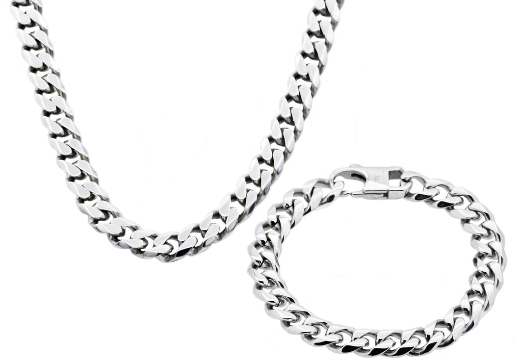 Mens 10mm Stainless Steel curb Link Chain Set - Blackjack Jewelry