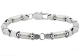 Mens Stainless Steel Barrel Link Chain bracelet