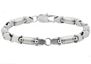Mens Stainless Steel Barrel Link Chain bracelet - Blackjack Jewelry