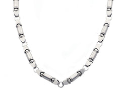 Mens Stainless Steel Barrel Link Chain Necklace