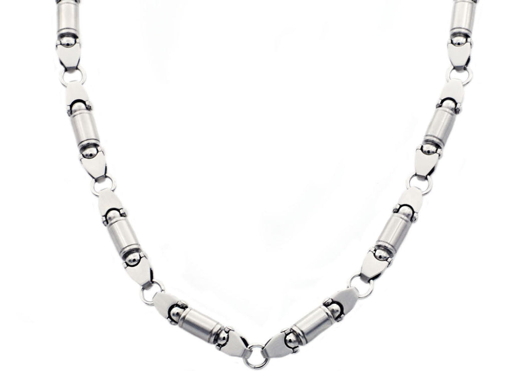 Mens Stainless Steel Barrel Link Chain Necklace - Blackjack Jewelry