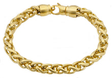 Load image into Gallery viewer, Mens Gold Plated Stainless Steel Wheat Link Chain Bracelet - Blackjack Jewelry
