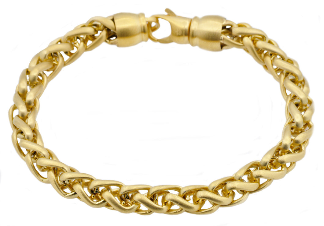 Mens Gold Plated Stainless Steel Wheat Link Chain Bracelet - Blackjack Jewelry