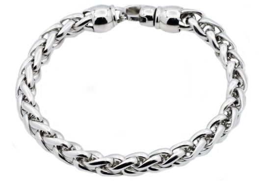 Mens Stainless Steel Wheat Link Chain Bracelet
