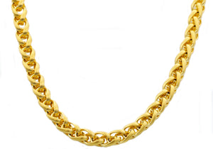 Mens 8mm Gold Stainless Steel Wheat Link Chain Necklace - Blackjack Jewelry