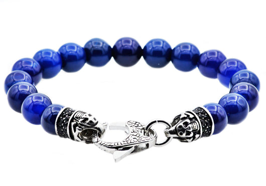 Mens Genuine Blue Agate Stainless Steel Beaded Bracelet With Black Cubic Zirconia