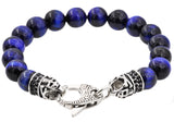 Mens Genuine Blue Tiger Eye Stainless Steel Beaded Bracelet With Black Cubic Zirconia