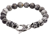 Mens Genuine Grey Jasper Stainless Steel Beaded Bracelet With Black Cubic Zirconia