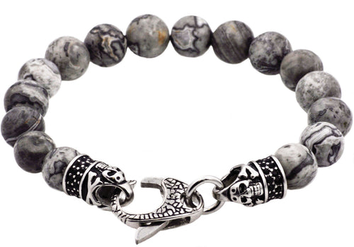 Mens Genuine Grey Jasper Stainless Steel Beaded Bracelet With Black Cubic Zirconia - Blackjack Jewelry