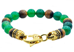 Mens Genuine Green Agate And Tiger Eye Gold Plated Stainless Steel Beaded Bracelet - Blackjack Jewelry
