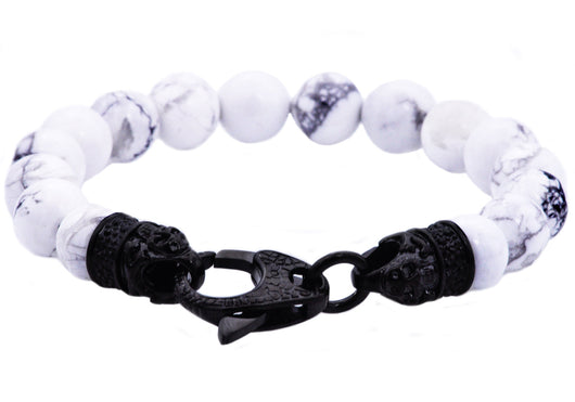 Mens Genuine Howlite Black Plated Stainless Steel Beaded Bracelet With Black Cubic Zirconia