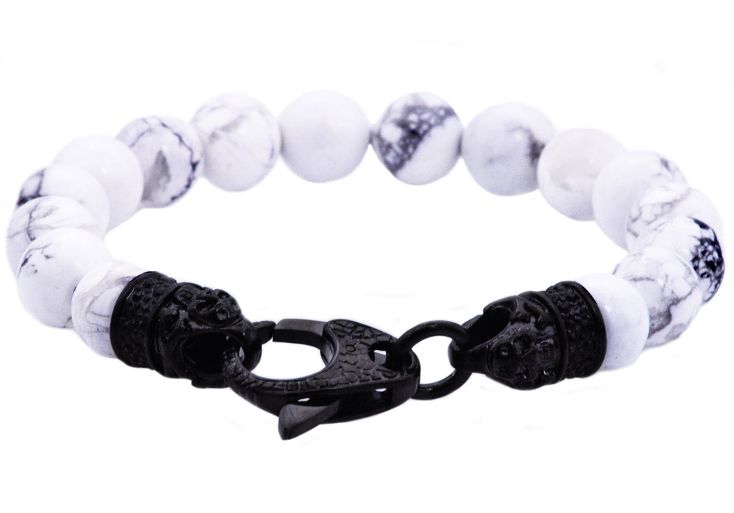 Mens Genuine Howlite Black Plated Stainless Steel Beaded Bracelet With Black Cubic Zirconia - Blackjack Jewelry
