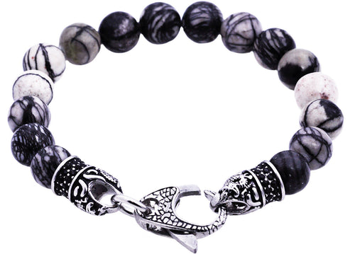 Mens Genuine Silver Leaf Jasper Stainless Steel Beaded Bracelet With Black Cubic Zirconia - Blackjack Jewelry