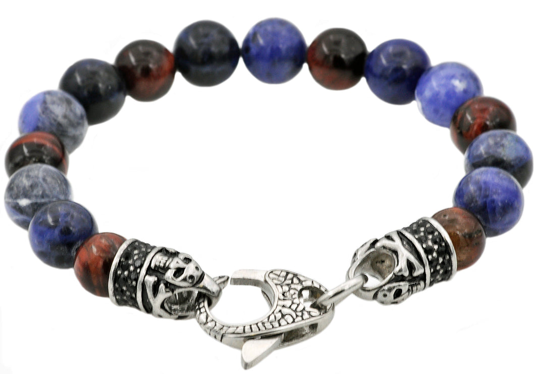 Mens Genuine Sodalite And Red Tiger Eye Stainless Steel Beaded Bracelet With Black Cubic Zirconia - Blackjack Jewelry