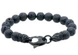 Mens Genuine Lava Stone Black Plated Stainless Steel Bracelet With Black Cubic Zirconia