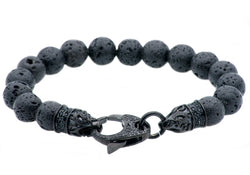 Mens Genuine Lava Stone Black Plated Stainless Steel Beaded Bracelet With Black Cubic Zirconia - Blackjack Jewelry