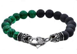 Mens Genuine Malacite And Onyx Stainless Steel Beaded Bracelet With Black Cubic Zirconia - Blackjack Jewelry