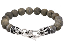 Load image into Gallery viewer, Mens Genuine Pyrite Stainless Steel Beaded Bracelet With Black Cubic Zirconia - Blackjack Jewelry