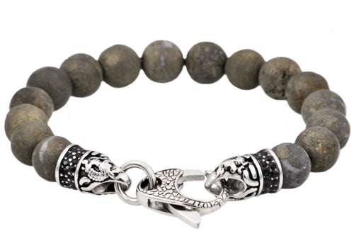 Mens Genuine Pyrite Stainless Steel Beaded Bracelet With Black Cubic Zirconia - Blackjack Jewelry