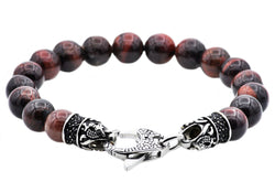 Mens Genuine Red Tiger Eye Stainless Steel Beaded Bracelet With Black Cubic Zirconia - Blackjack Jewelry