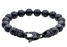 Load image into Gallery viewer, Mens Genuine Onyx Black Stainless Steel Beaded Bracelet With Black Cubic Zirconia - Blackjack Jewelry