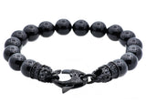 Mens Genuine Onyx Black Plated Stainless Steel Beaded Bracelet With Black Cubic Zirconia