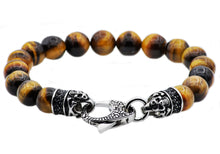 Load image into Gallery viewer, Mens Genuine Tiger Eye Stainless Steel Beaded Bracelet With Black Cubic Zirconia - Blackjack Jewelry