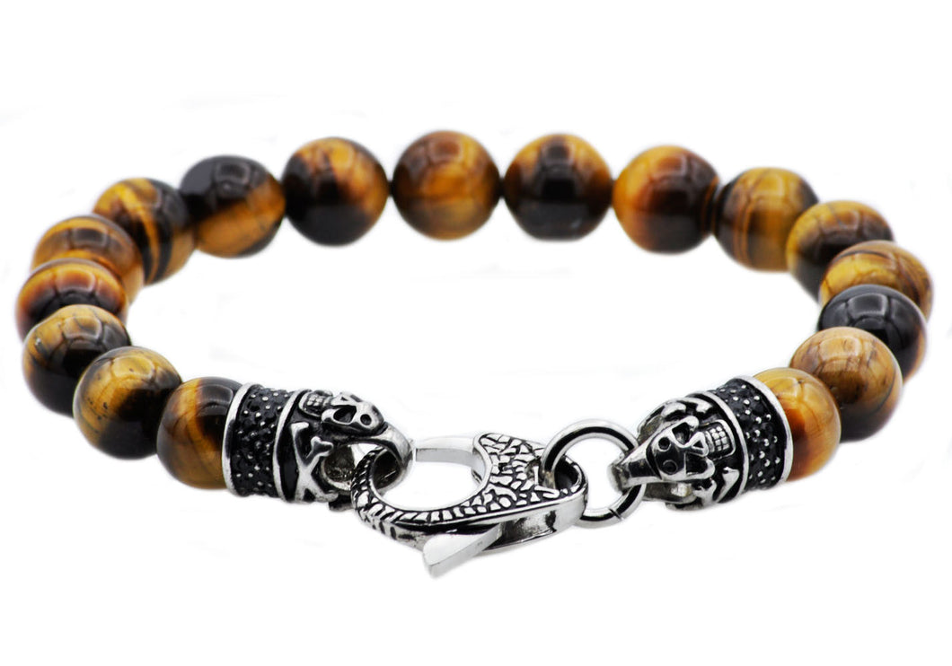 Mens Genuine Tiger Eye Stainless Steel Beaded Bracelet With Black Cubic Zirconia - Blackjack Jewelry