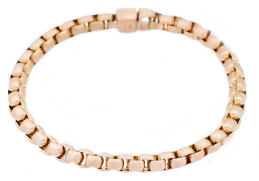 Mens Rose Plated Stainless Steel Rolo Link Chain Bracelet