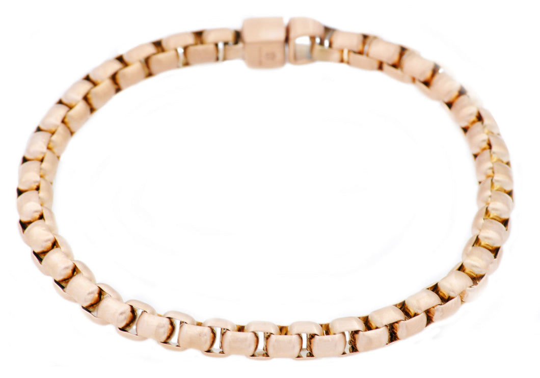 Mens Gold Stainless Steel Round Box Link Chain Bracelet - Blackjack Jewelry