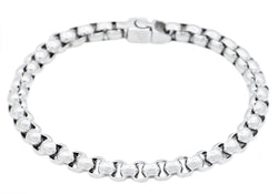 Mens Stainless Steel Rolo Link Chain Bracelet