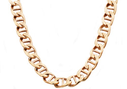 Mens Rose Gold Plated Stainless Steel Mariner Link Chain Necklace - Blackjack Jewelry
