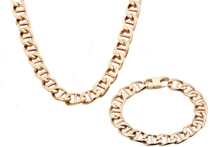 Mens Rose Gold Plated Stainless Steel Mariner Link Chain Set - Blackjack Jewelry