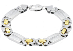 Mens Gold Plated Stainless Steel Byzantine Link Chain Bracelet With Cubic Zirconia