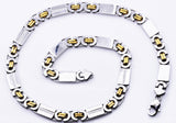 Mens Gold Plated Stainless Steel Flat Byzantine Link Chain Necklace With Cubic Zirconia
