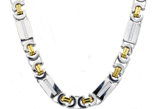 Mens Gold Plated Stainless Steel Byzantine Link Chain Necklace With Cubic Zirconia