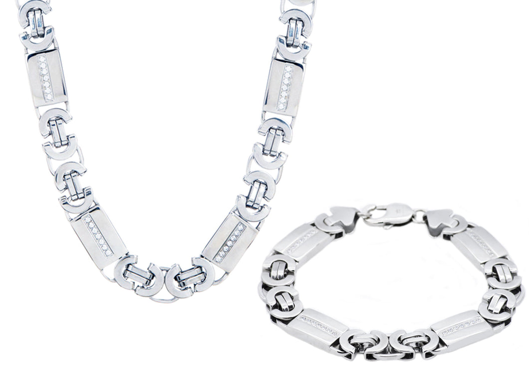 Mens Stainless Steel Flat Byzantine Link Chain Set With Cubic Zirconia - Blackjack Jewelry