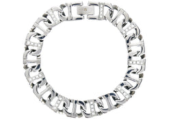 Mens Stainless Steel Mariner Link Chain Bracelet With Cubic Zirconia